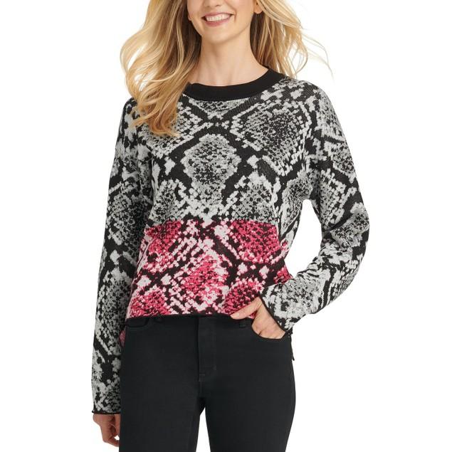 DKNY Women's Colorblock Python-Print Sweater Gray Size Medium