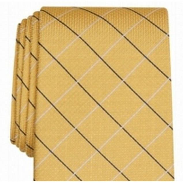 Club Room Men's Classic Grid Tie Yellow Size Regular