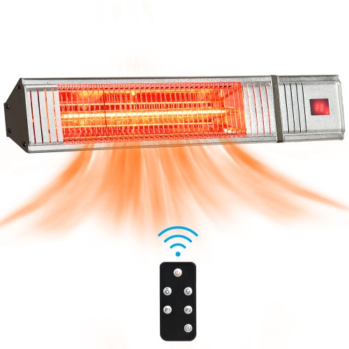 Costway 1500W Infrared Patio Heater w/ Remote Control & 24H Timer for Indoo
