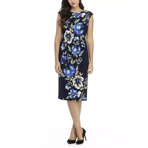London Times Women's Printed Midi Sheath Dress Blue Size 10 Petite