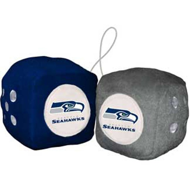 Seattle Seahawks Fuzzy Dice NFL Football Team Logo Plush Car Truck Auto