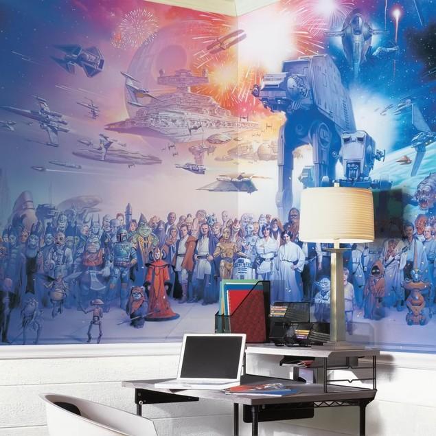 Star Wars Saga Chair Rail Prepasted Mural 6' x 10.5' - Ultra-Strippable