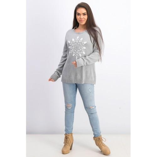 Karen Scott Women's Snowflake Applique Sweater Smoke Grey Comb Size Large