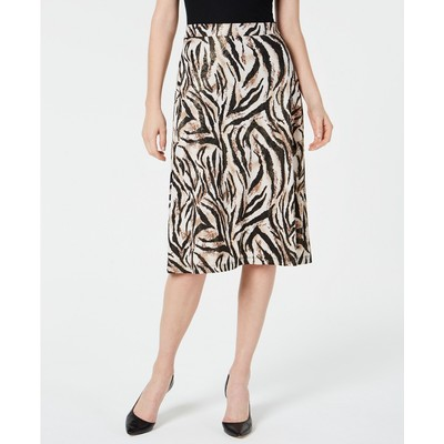 Kasper Women's Petite Animal-Print A-Line Skirt Brown Size X-Large