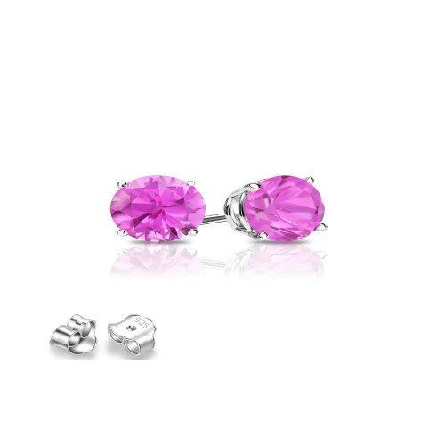Sterling Silver 4mm Hot Pink Cubic Zircon Round Stud Earrings.
