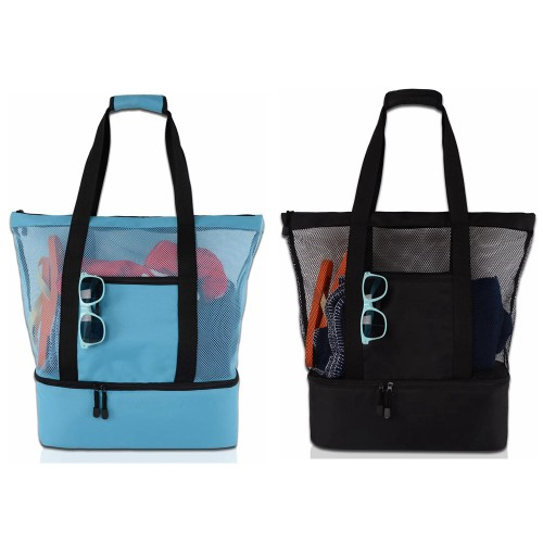 Beach Tote Bag with Detachable Zippered Insulated Cooler for Beach Camping Picnic