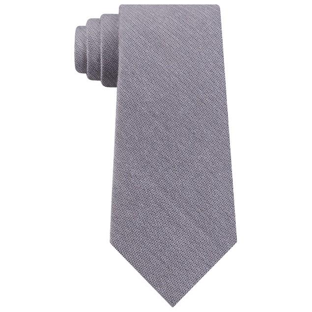 Calvin Klein Men's Slim Herringbone Tie Charcoal Size Regular