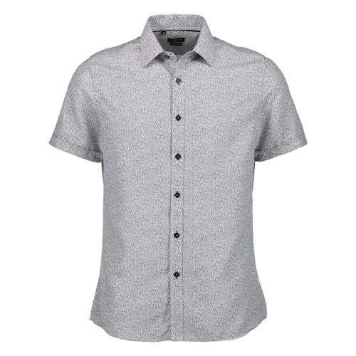 Rosso Milano Modern Fit Short Sleeve White Marble Dot Dress Shirt