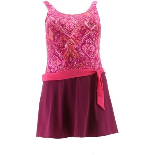 Denim& Co Beach Scoop-Neck Side Tie Swim Dress Women's, Size 8, Berry