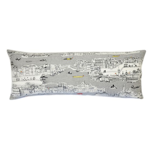 Spura Home Venice Skyline Embroidered Wool Cushion Day/Night Setting