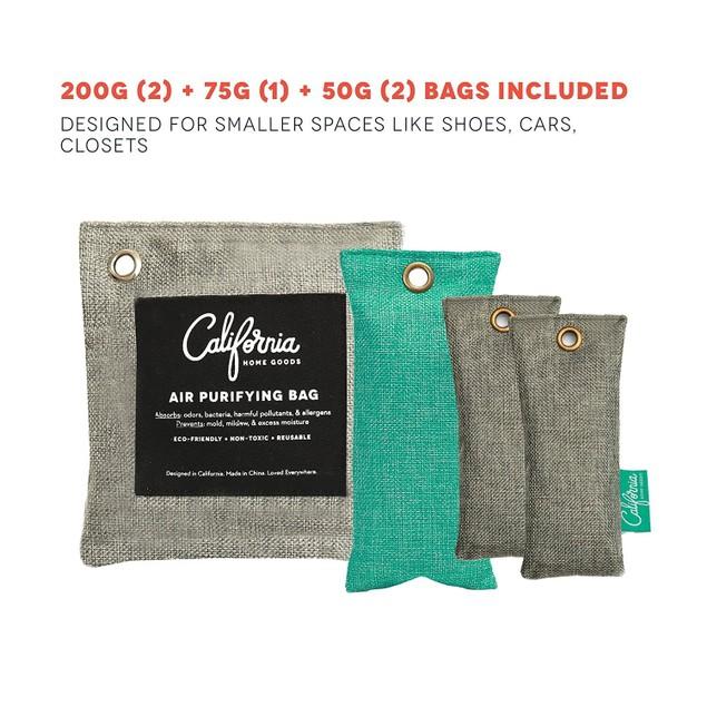 5-Pack Bundle California Home Goods Bamboo Charcoal Sachet