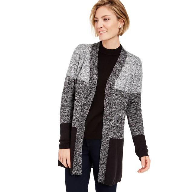 Karen Scott Women's Colorblocked Open Front Cardigan Black Size Medium