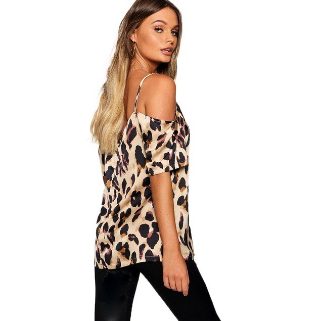 Women's Off Shoulder Leopard Top