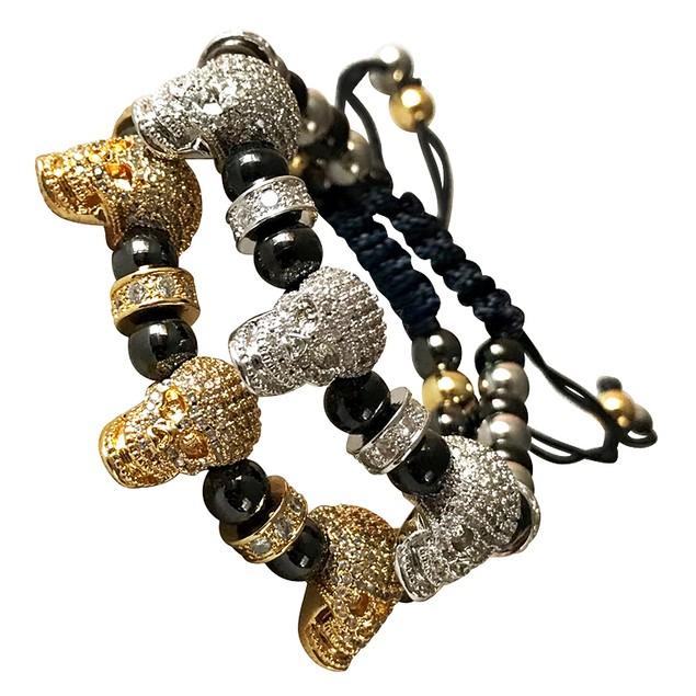 Men's Fashion Macrame Bracelet Two Tone Skull heads
