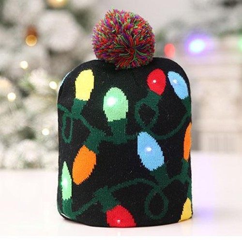 LED Christmas Knitted Beanie Hat