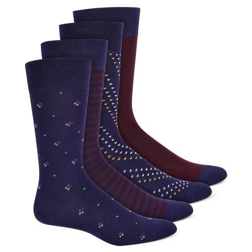 Alfani Men's 4 Pk Printed Dress Crew Socks  Blue Size 10-13