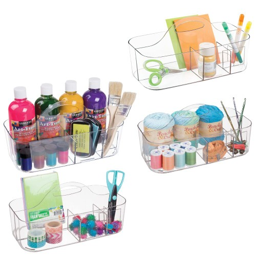 mDesign Plastic Storage Caddy for Sewing & Craft Supplies, 4 Pack - Clear