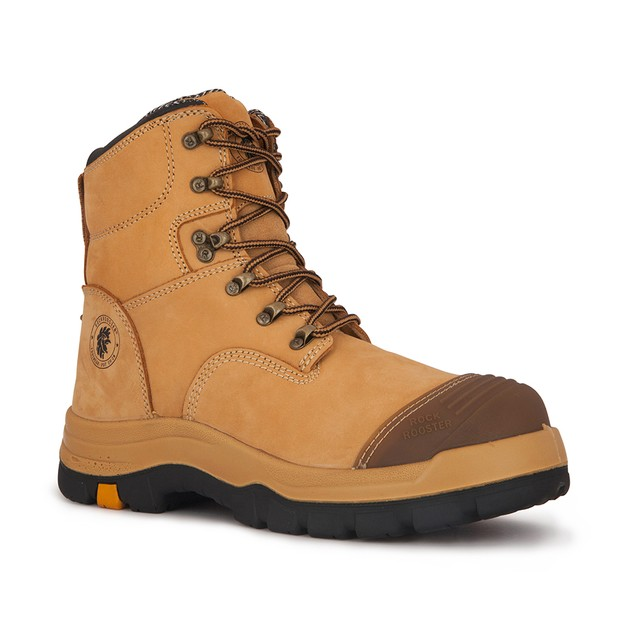 ROCKROOSTER Men's Steel Toe Work Boots Wheat Slip Resistant