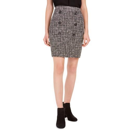 Bar III Women's Button-Detail Tweed Pencil Skirt  Black Size 10