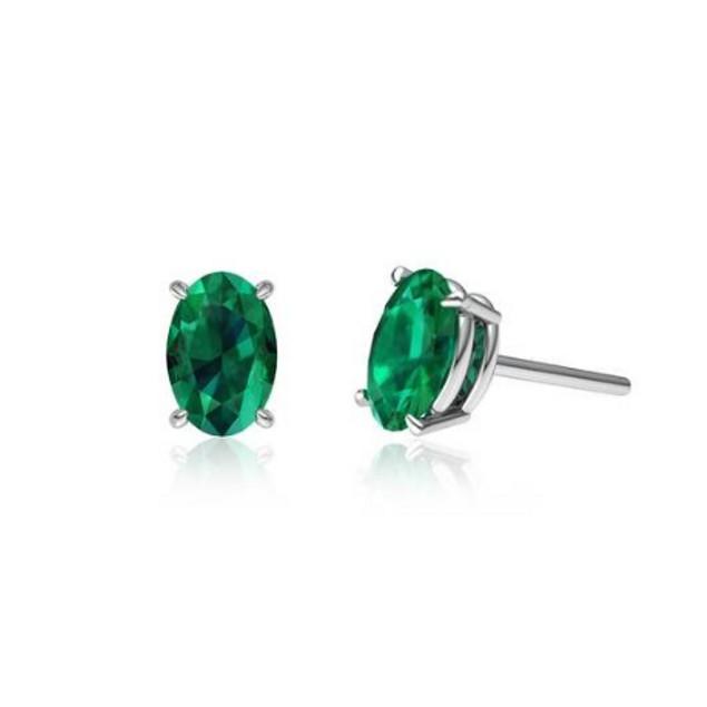Sterling Silver Genuine Gemstone Stud Earrings - 5 Colors