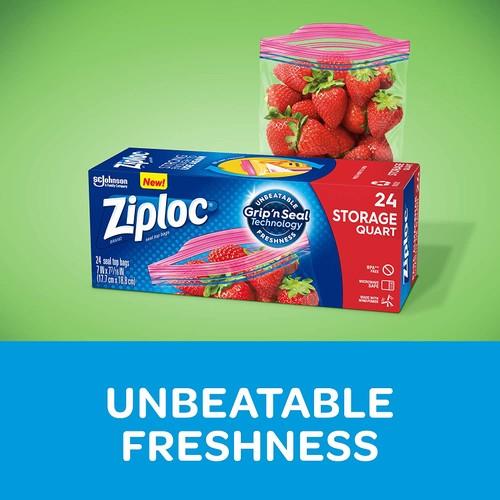 Ziploc New Grip 'n Seal Smart Zipper Plus Technology Storage Quart Bags, 24
