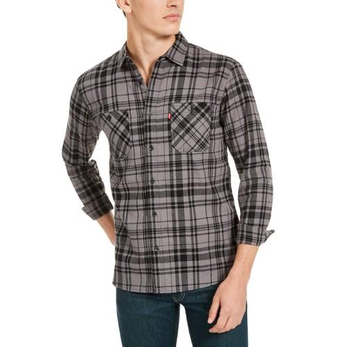 Levi's Men's Miguel Regular-Fit Plaid Flannel Shirt Gray Size Medium
