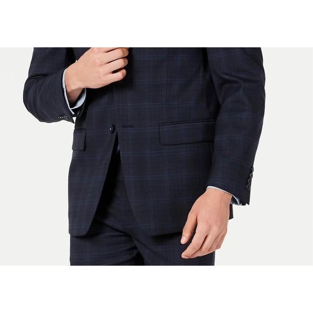 Calvin Klein Men's X Slim-Fit Stretch Navy Plaid Suit Navy Size 44