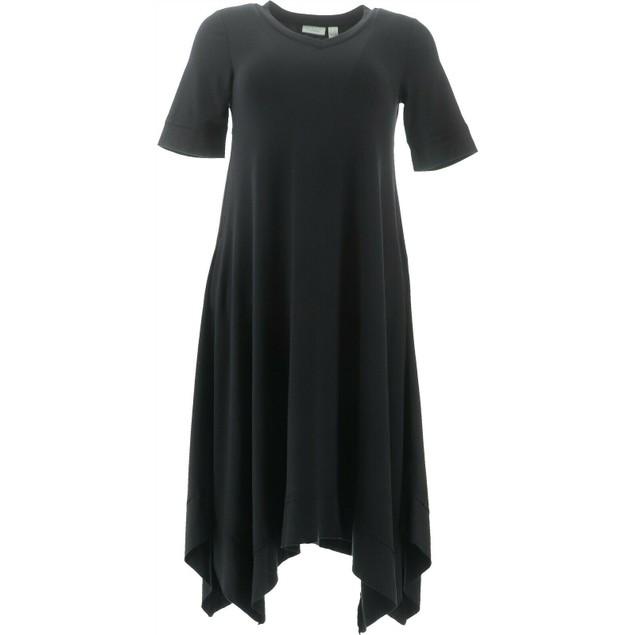 LOGO Lounge by Lori Goldstein Jersey Dress with Handkerchief Hem, Medium,