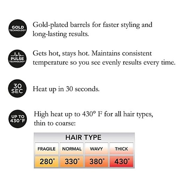 Hot Tools Signature Series Gold Curling Iron/Wand, 1.25 Inch