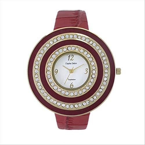 Charles Delon Women's Watches 5165 LASR Red/Gold Leather Quartz Round Analog