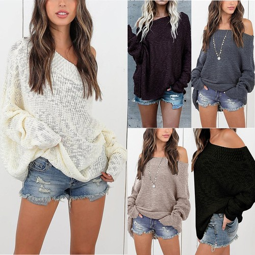 Women's Lazy Style Loose Oversized Sweater Strapless