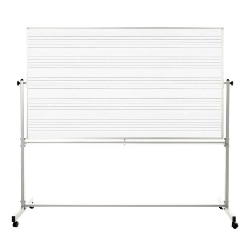 """Luxor 72"""" x 48"""" Double Sided Reversible Mobile Music Whiteboard"""