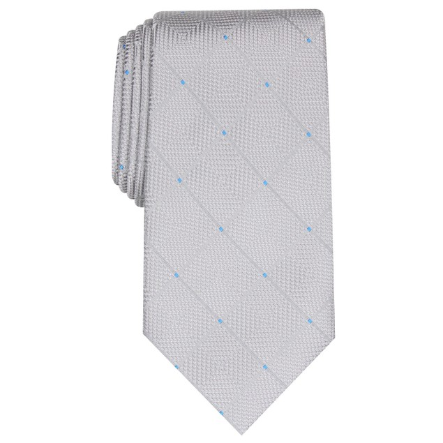 Perry Ellis Men's Burr Classic Geo Grid Tie Gray Size Regular