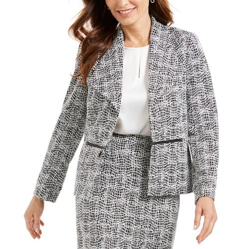Kasper Women's Metallic Jacquard Wing Collar Jacket Charcoal Size 10