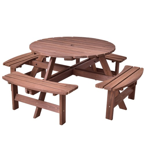 Costway Patio 8 Seat Wood PicnicTable Beer Dining Seat Bench Set Pub Garden