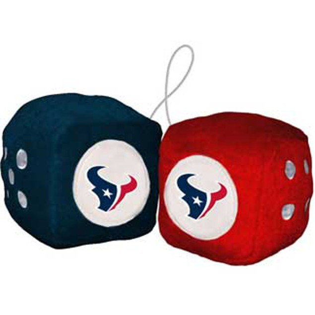 Houston Texans Fuzzy Dice NFL Football Team Logo Plush Car Truck Auto
