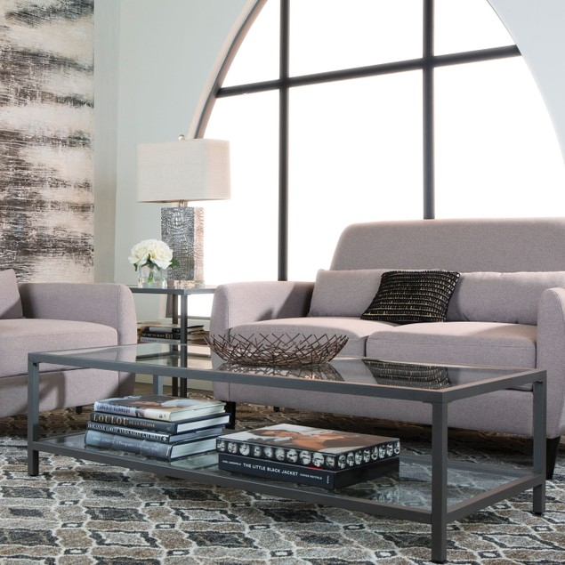Studio Design Camber Collection Rectangle Clear Glass Coffee Table - Pewter