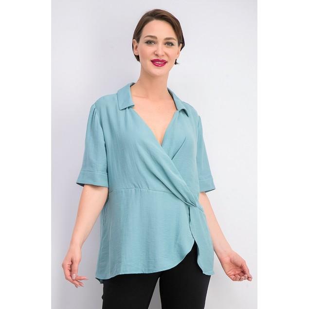 Alfani Women's Collared Surplice Blouse  Green Size Large