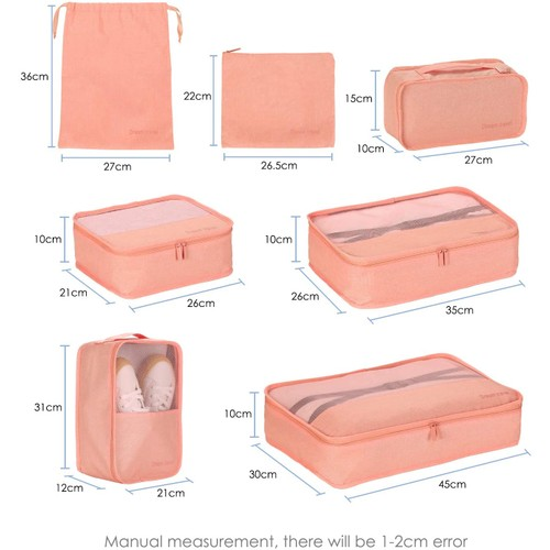 7 PACKING CUBES TRAVEL STORAGE BAG LUGGAGE ORGANIZER FOR TRAVEL HOME