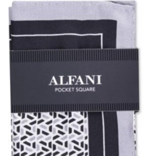 Alfani Men's Geo Silk Pocket Square White Size Regular