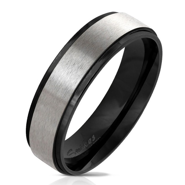 Stepped Edge with Brushed Steel Center Stainless Steel Ring