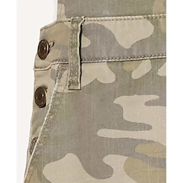 Vanilla Star Women's Ripped Camouflage Overalls Green Size 3