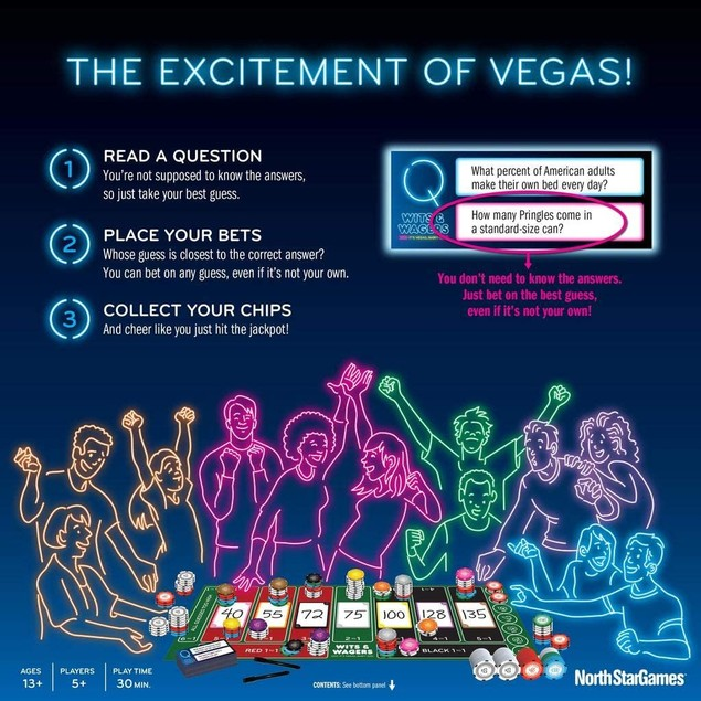 Wits and Wagers Vegas Board Game, Multicolor