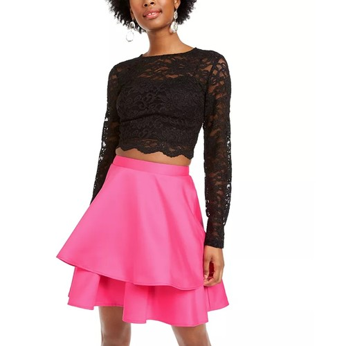 City Studios Junior's 2 Pc Lace Top & Satin Skirt Dress Pink Size 11