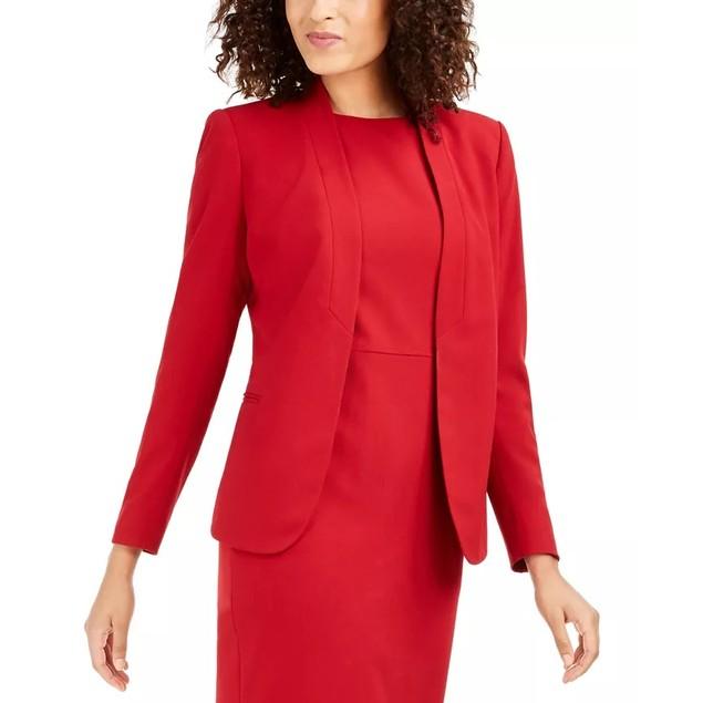 Anne Klein Women's Sabre Stretch Knit Blazer Red Size 2