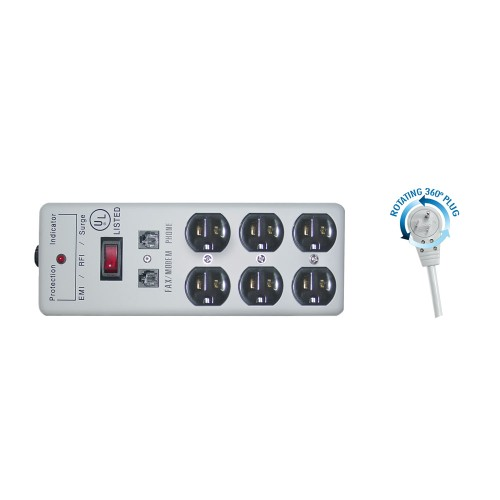 Surge Protector, Flat Rotating Plug, Power Cord 15 foot