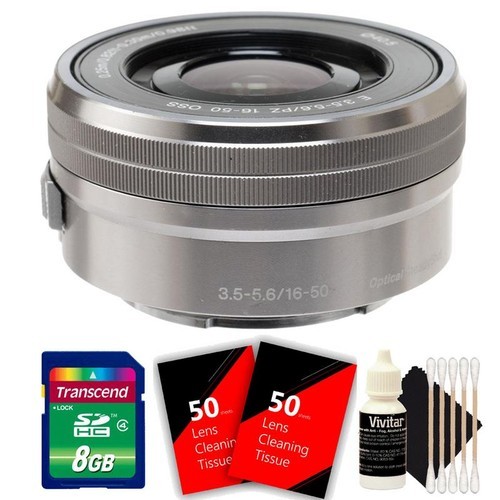 Sony E PZ 16-50mm f/3.5-5.6 OSS Silver Lens + 8GB Memory Card + 100 Lens Tissue + 3pc Cleaning Kit