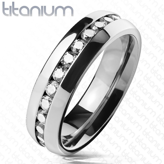 Eternity CZ Set Titanium Dome Rings