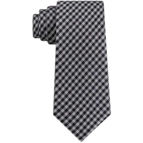 Tommy Hilfiger Men's Classic Textured Plaid Tie Gray Size Regular