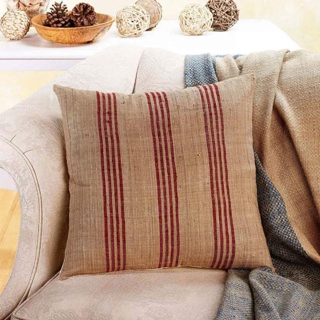 Earth Striped Hand Woven Silk Zip Contemporary 18x18 Pillow Cushion